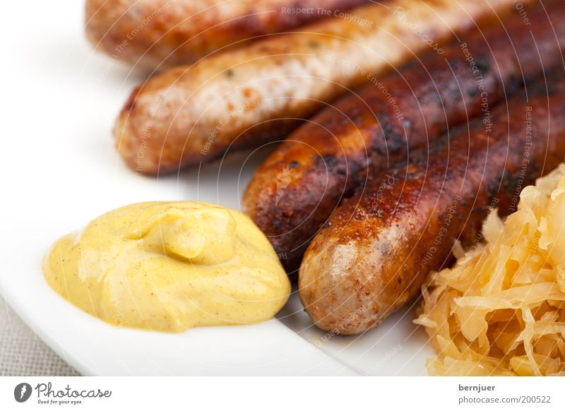 Bradwerscht Bratwurst Roasted Sausage sauerkraut Nutrition Food Snack Plate Fat Brunch Snack bar Small sausage Franconian Specialities Coleslaw Mustard Close-up