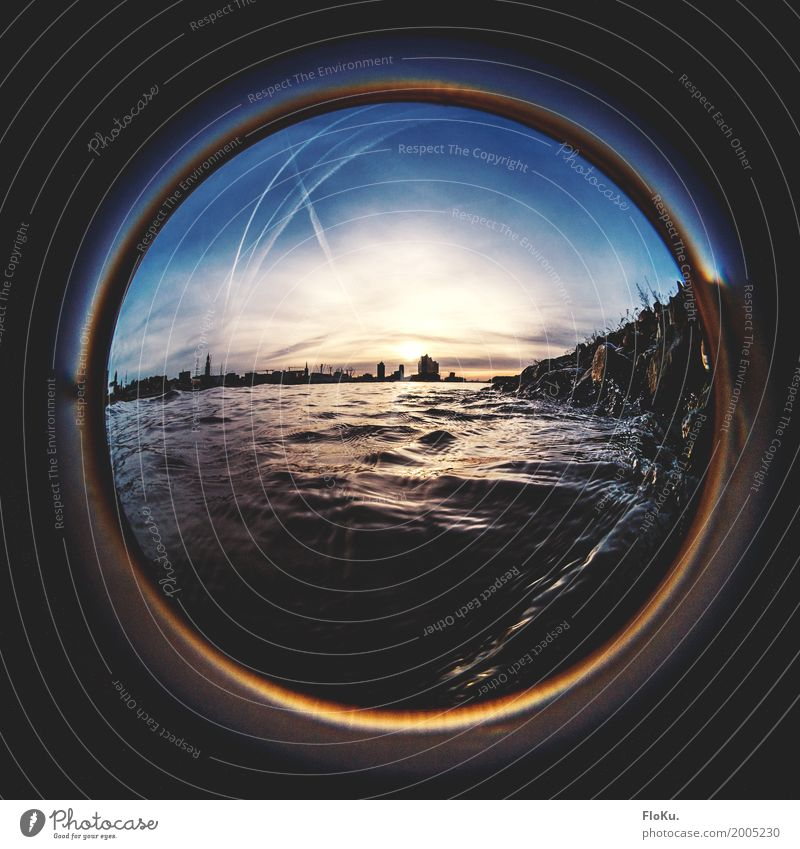 Humburg Ahoi - A view through the porthole Environment Elements Water Sky Clouds Horizon Sun Sunrise Sunset Waves Coast River bank Elbe Hamburg Town Port City