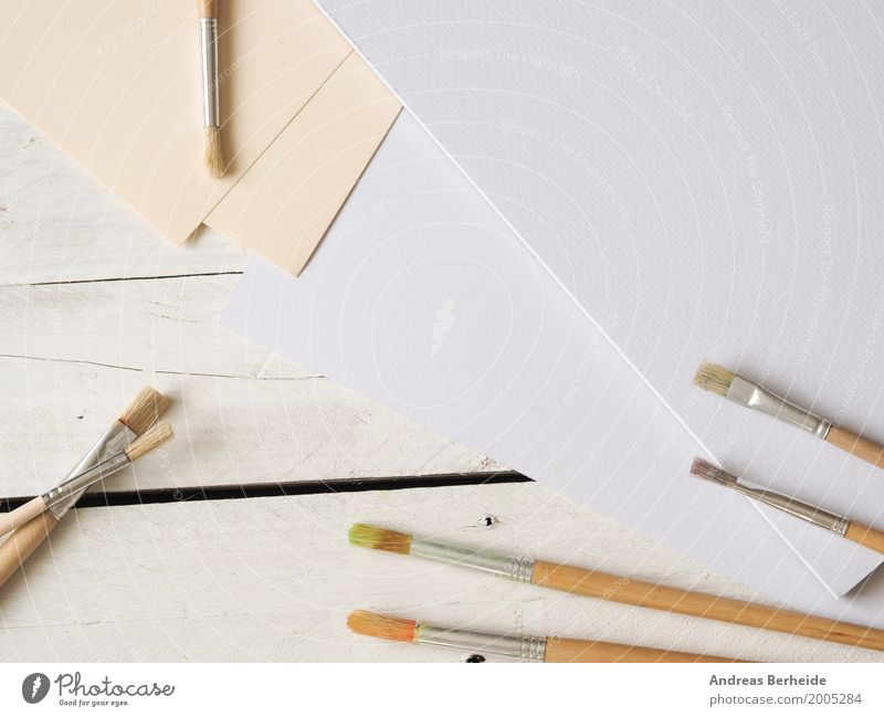 Be creative Painting and drawing (object) Draw Art Creativity Passion paper canvas bare texture sheet brushes wooden view color artistic mockup old stuff space