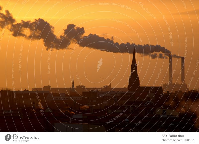 Rauch power station Berlin Industry Energy industry Sunrise Sunset Beautiful weather Germany Europe Capital city Downtown Skyline Deserted