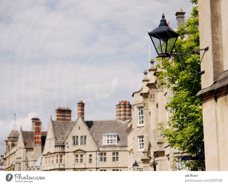 OXFORD Sky Clouds Plant Foliage plant Oxford England Town Downtown Old town House (Residential Structure) Building Architecture Facade Lantern Authentic Elegant