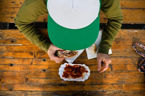 Breakfast Currywurst Food Meat Sausage Vegetable Hotdog Kebab Nutrition Eating Lunch Dinner Fast food Human being Masculine Man Adults Youth (Young adults) 1