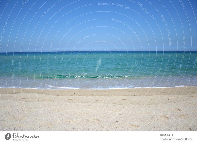 dream beach Sand Sky Cloudless sky Beautiful weather Beach Ocean Mediterranean sea Exotic Blue Brown Multicoloured Exterior shot Deserted Copy Space top