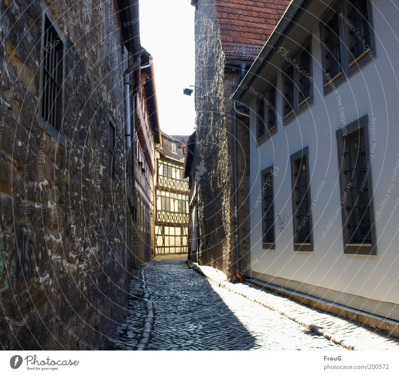 Through this narrow alley he will come... House (Residential Structure) Sunlight Downtown Old town Deserted Building Wall (barrier) Wall (building) Window