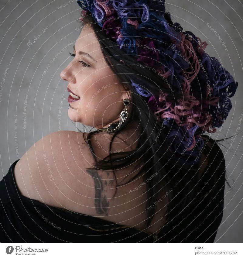 Kristina Feminine Woman Adults 1 Human being Artist Actor Wall (barrier) Wall (building) T-shirt Jewellery Tattoo Headdress Silk flower Brunette Long-haired