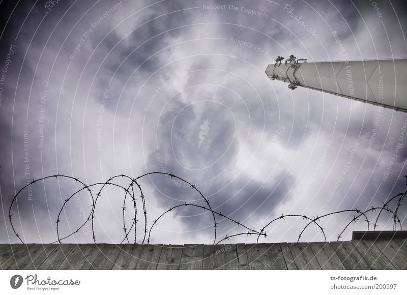 Sky Clouds Dark Cold Wall (building) Gray Wall (barrier) Threat Telecommunications Tower Creepy Fence GDR Storm Chimney Antenna