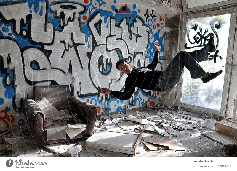 If You Fall Hard... Harmonious Masculine 1 Human being 18 - 30 years Youth (Young adults) Adults Wall (barrier) Wall (building) Paper Graffiti To fall Flying