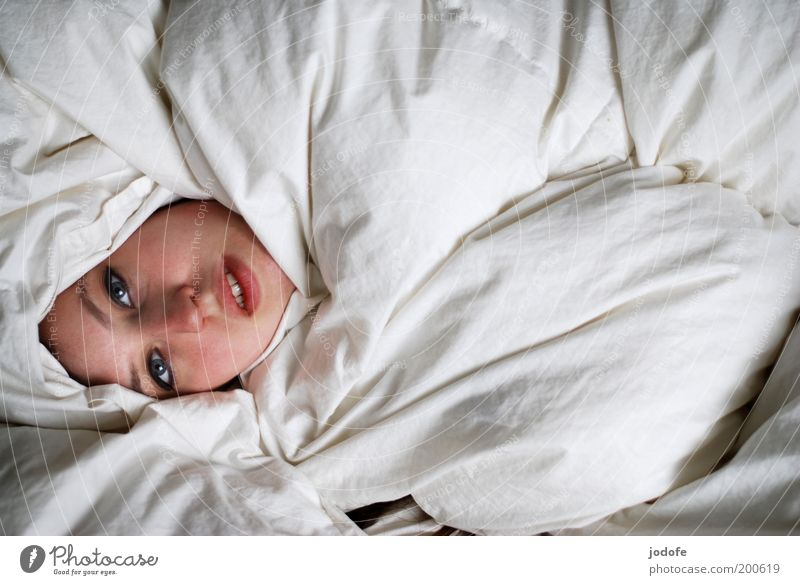 Woman Human being Youth (Young adults) White Face Feminine Head Adults Lie Hide Cozy Bedclothes Duvet Hidden Young woman