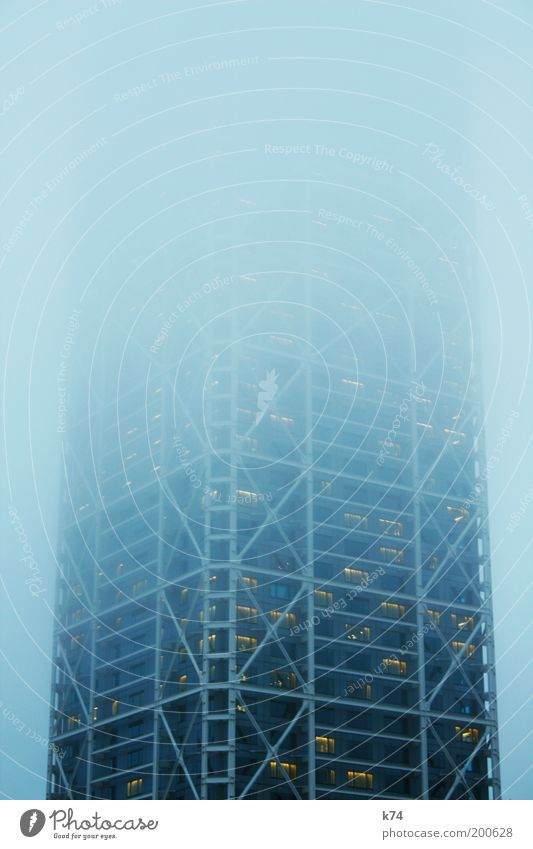 Blue Dark Architecture Building Fog Tall Large High-rise Threat Infinity Mysterious Creepy Gigantic Diffuse Vague