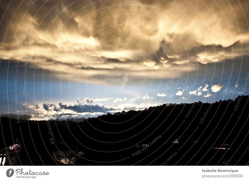 Sky Nature Blue Sun Clouds Black Forest Far-off places Street Movement Gray Rain Horizon Weather Dangerous Threat