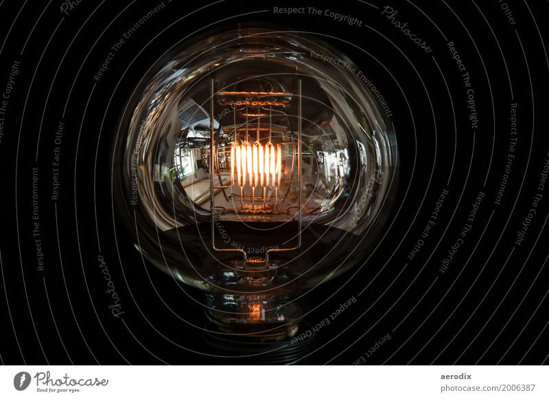 large bulb with glowing filament and reflections Energy industry Glass Glittering Warmth Electric bulb Old Ancient Lamp Light Black Background picture