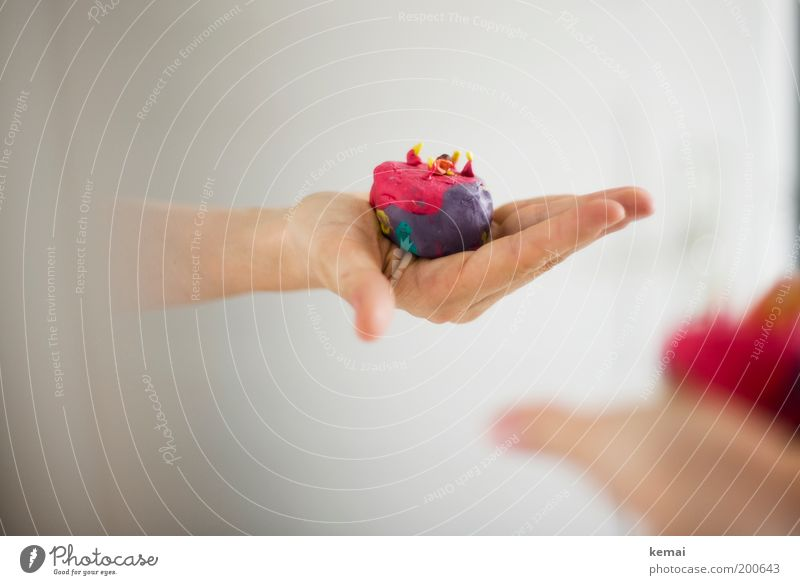 Cake for you Human being Arm Hand Fingers 1 4 Toys Modeling clay Self-made Handicraft Violet Red Donate Give Mirror Colour photo Multicoloured Interior shot