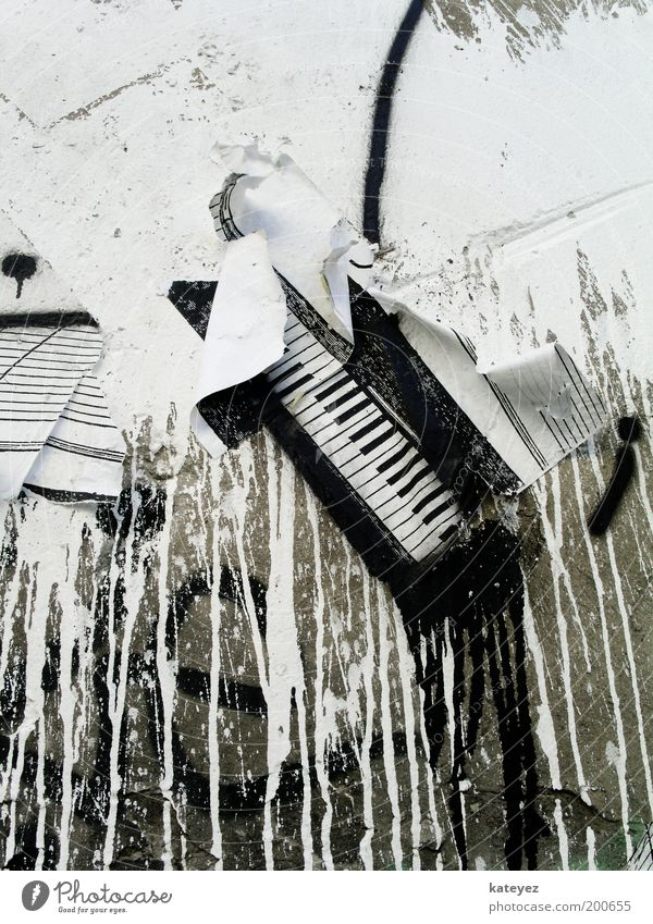 White Colour Wall (building) Piano Music Stone Wall (barrier) Graffiti Art Design Culture Derelict Keyboard Trashy Patch Poster