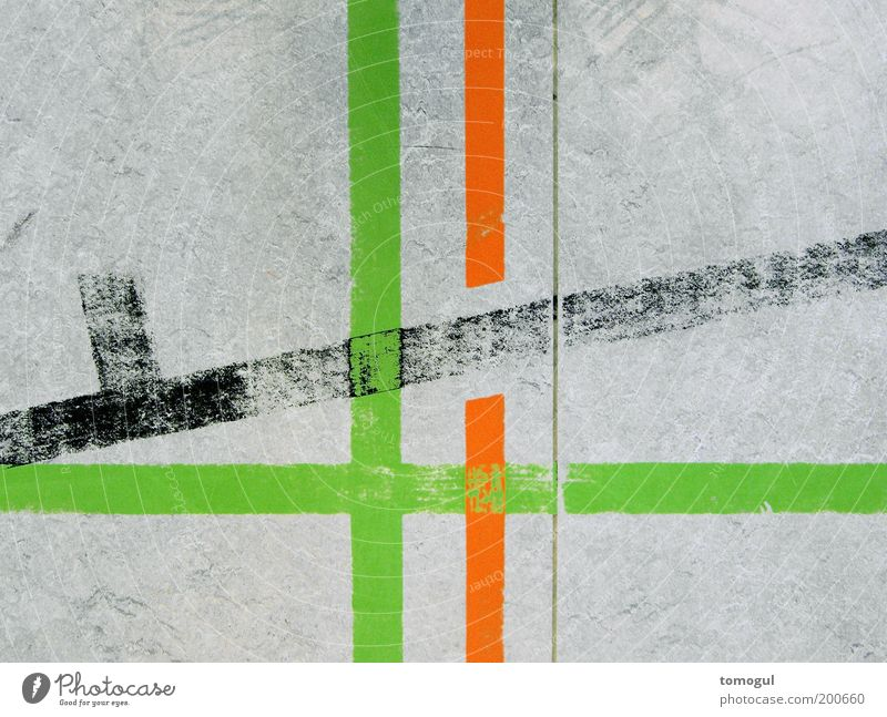 School of line observation Signs and labeling Line Stripe Gray Green Red Ground markings Graphic Illustration Breach Abstract Colour photo Interior shot