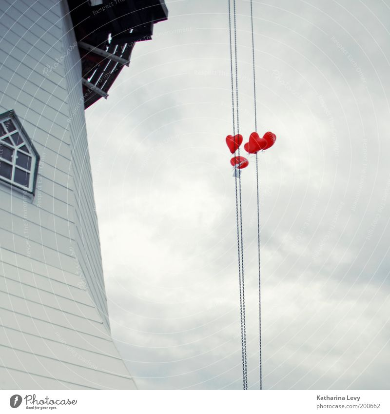 Sky White Red Love Clouds Above Window Freedom Air Heart Beginning Hope Balloon Roof Decoration Sign