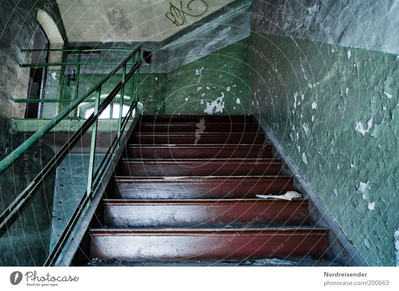 Old Wall (building) Wall (barrier) Dirty Architecture Stairs Factory Living or residing Interior design Discover Decline Upward Plaster Banister