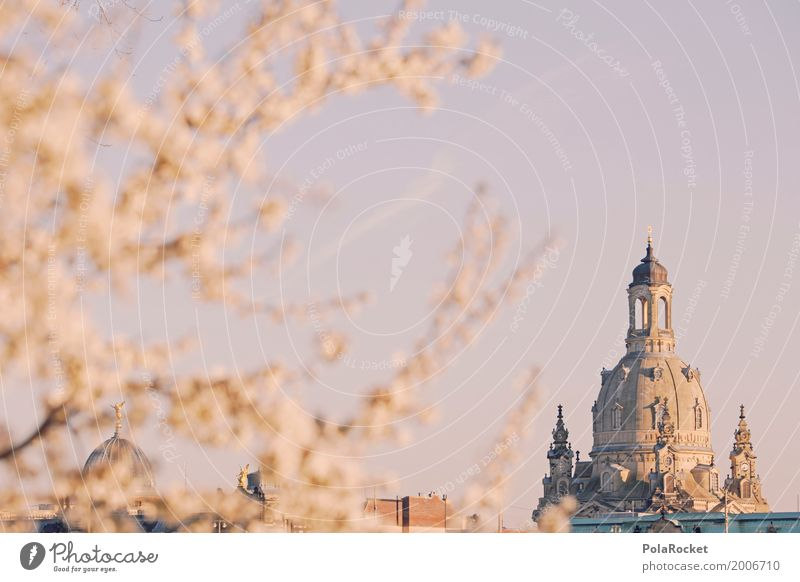 #A# Dresden in spring V Art Work of art Painting and drawing (object) Esthetic Frauenkirche Saxony Tourist Attraction Future Ambitious Spring Spring fever
