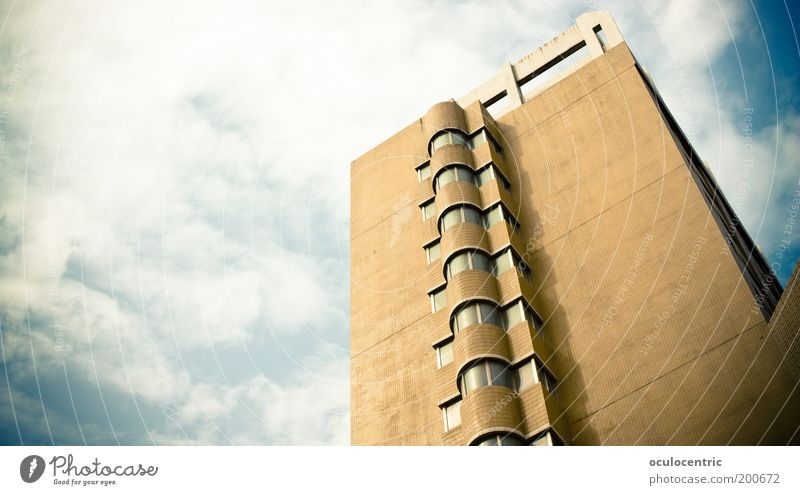 Sky Blue City Clouds Above Window Bright Brown Architecture Large High-rise Facade Retro Vantage point Simple