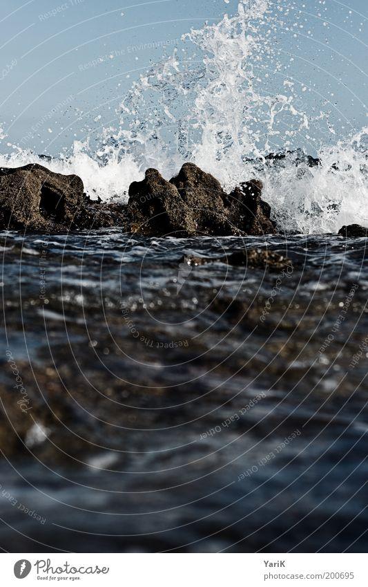 Water Sky Ocean Blue Dark Stone Waves Coast Wind Drops of water Force Threat Gale Dynamics Bay Storm