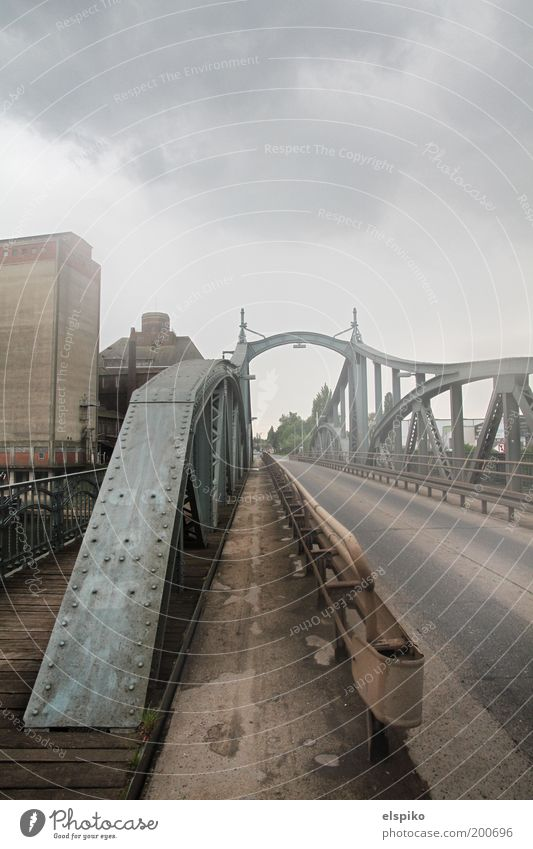 Sky City Clouds Street Gray Metal Architecture Fog Bridge Asphalt Steel Manmade structures Eerie Wide angle Intersection Perspective