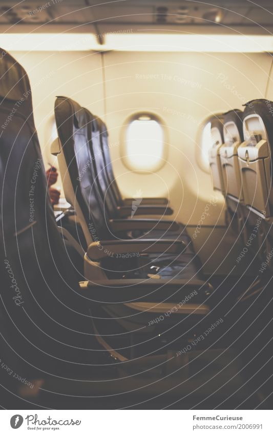 Seat row. Transport Means of transport Traffic infrastructure Vacation & Travel Aviation Airplane Airplane window Airplane seat Row of seats Empty Room Backrest