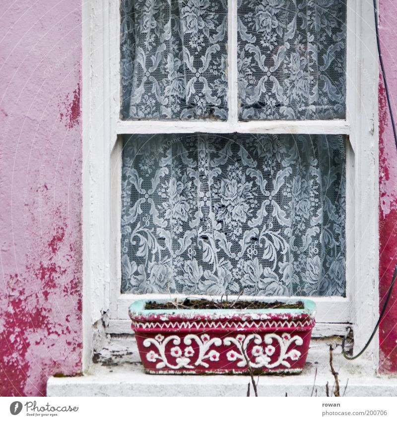 Old White Colour Window Pink Facade Retro Decoration Shabby Drape Adornment Window board Time Window box Canceled