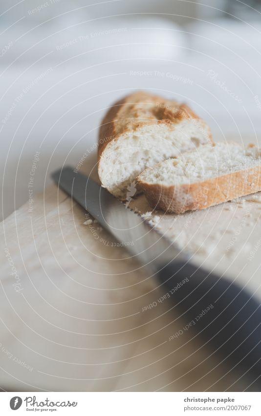 Food Nutrition Fresh Wooden board Breakfast Bread Knives Slice Cut Crumbs Baguette White bread