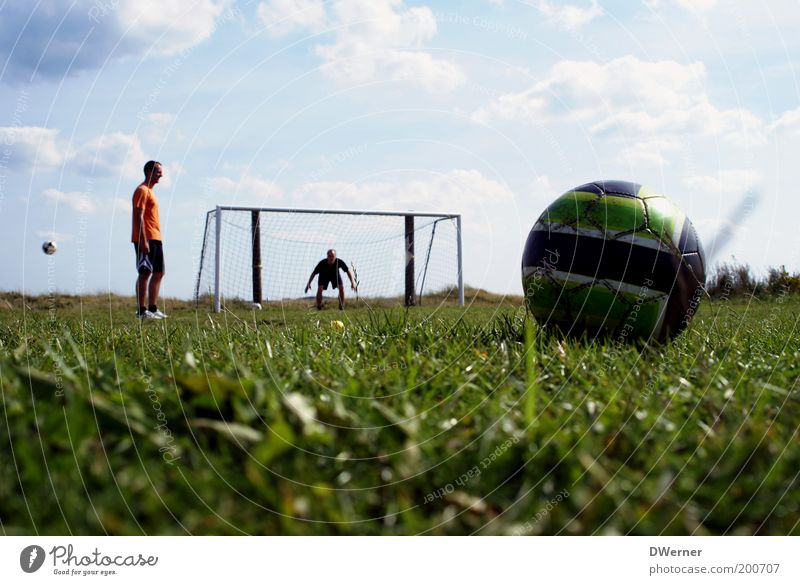 Human being Sky Nature Youth (Young adults) Plant Summer Clouds Meadow Sports Grass Park Power Leisure and hobbies Soccer Masculine Sports team