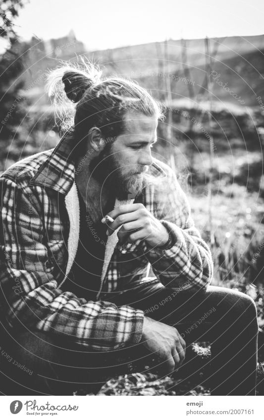 BW Masculine Young man Youth (Young adults) 1 Human being 18 - 30 years Adults 30 - 45 years Cool (slang) Hip & trendy Smoking Hipster Black & white photo