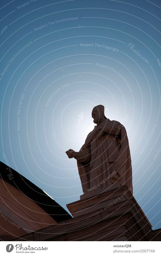 Holy Guy. Art Esthetic Heavenly Belief Religion and faith Blue sky Statue Church Evangelical crusade Colour photo Multicoloured Exterior shot Detail