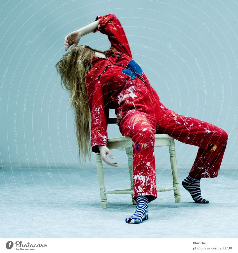 Position 5: The prevented Diva Human being Feminine Young woman Youth (Young adults) 1 Blonde Sit Chair Working clothes Dirty Red Colour photo Interior shot