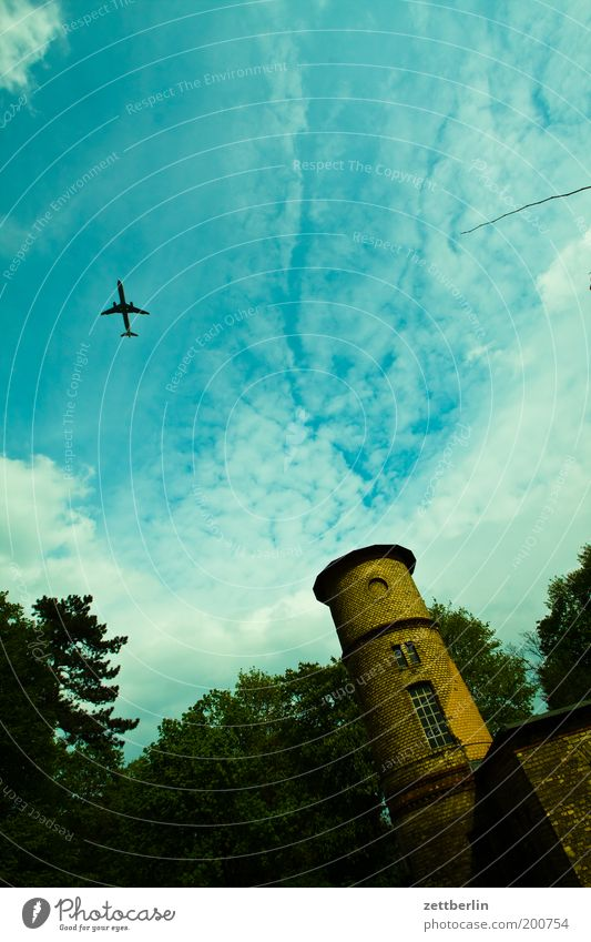 Sky Summer Vacation & Travel House (Residential Structure) Clouds Berlin Park Building Airplane Aviation Travel photography Tower Airplane takeoff