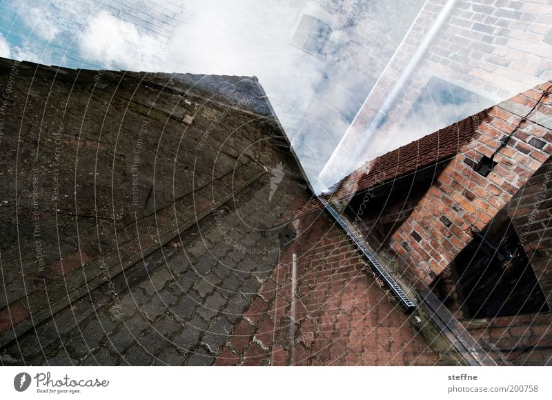Sky House (Residential Structure) Door Brick Sidewalk Whimsical Safety (feeling of) Barn Double exposure Paving stone Detached house Stone Experimental
