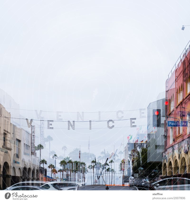 Venice Town venice beach Los Angeles California Double exposure Traffic light Colour photo Exterior shot Deserted Copy Space top