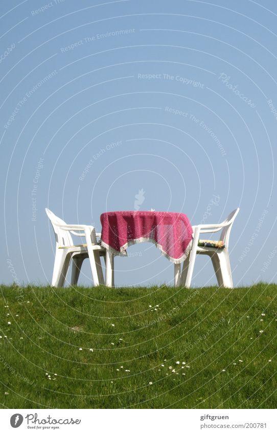 tête-à-tête Trip Summer Furniture Chair Table Restaurant Café Pink Plastic chair Garden chair Sky Grass Meadow Daisy Beautiful weather Tourism Cozy