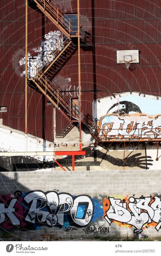 House (Residential Structure) Wall (building) Dream Wall (barrier) Building Graffiti Stairs Culture Basketball basket Art Youth culture Sporting grounds Subculture Fire ladder