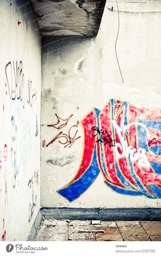 Mostar Graffiti Youth culture Subculture Old Gloomy Town Street art Ruin Broken Decline Red Blue Colour photo Exterior shot Deserted Day Wall (building)