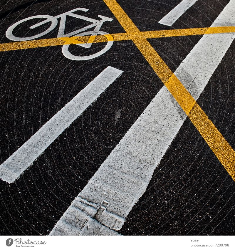 proscribed Bicycle Construction site Transport Road traffic Street Sign Signs and labeling Road sign Crucifix Line Stripe Threat Dirty Trashy Yellow Black Bans