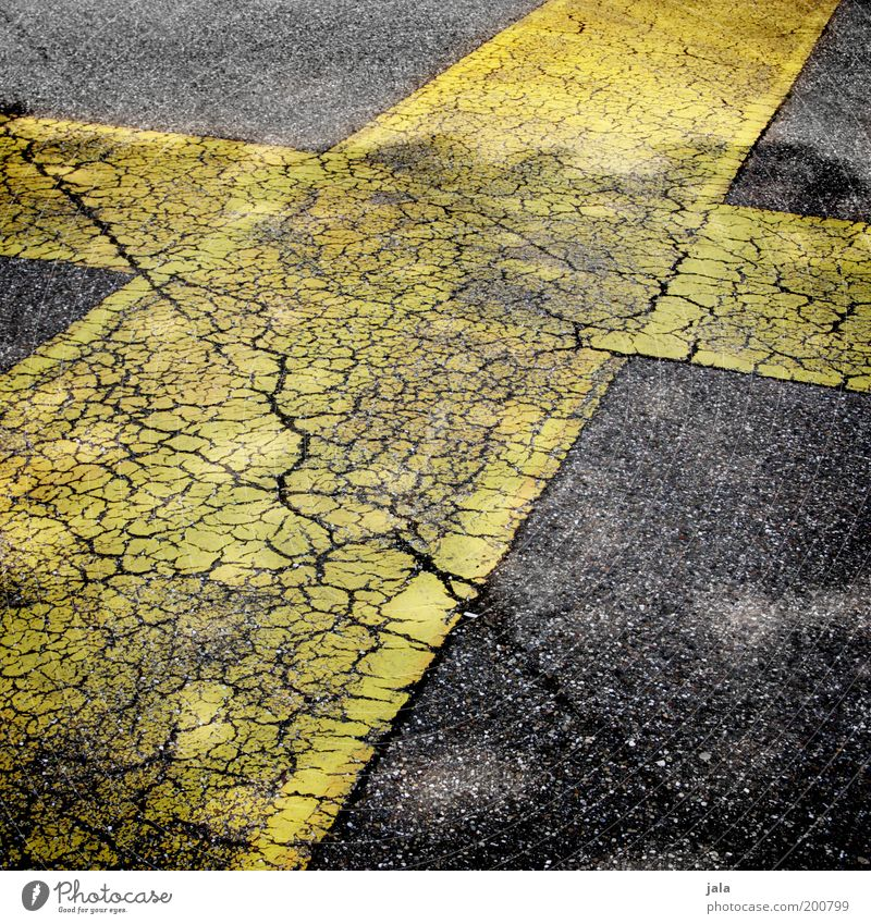 Old Black Yellow Street Places Asphalt Crucifix Traffic infrastructure Crack & Rip & Tear Line Precarious Marker line Dividing line