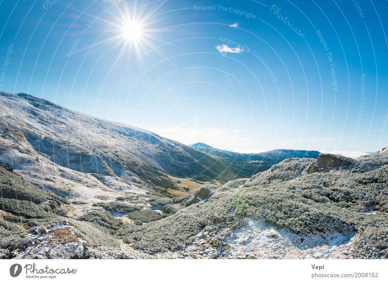 Winter mountains and sunny green valley Sky Nature Vacation & Travel Blue Green White Sun Tree Landscape Clouds Forest Mountain Environment Yellow Spring