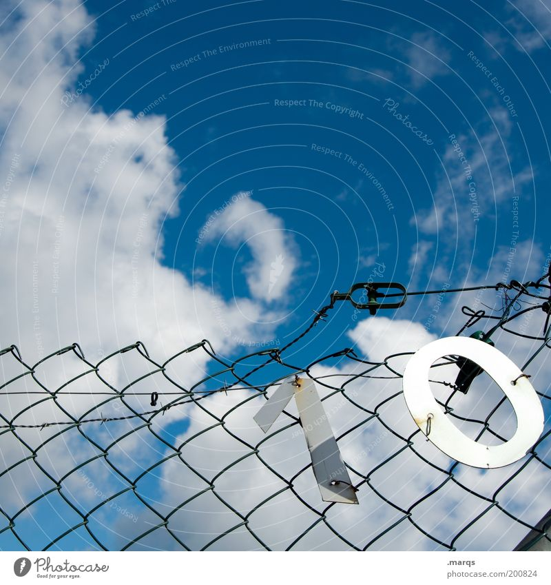 Sky Blue Summer Clouds Metal Broken Digits and numbers Transience Uniqueness Decline Whimsical 10 Jubilee Nature Barrier Fence