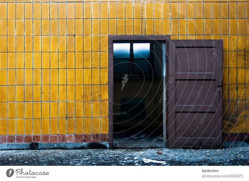Old Yellow Dark Wall (building) Wall (barrier) Building Dirty Architecture Door Open Factory Transience Tile Decline Past Manmade structures
