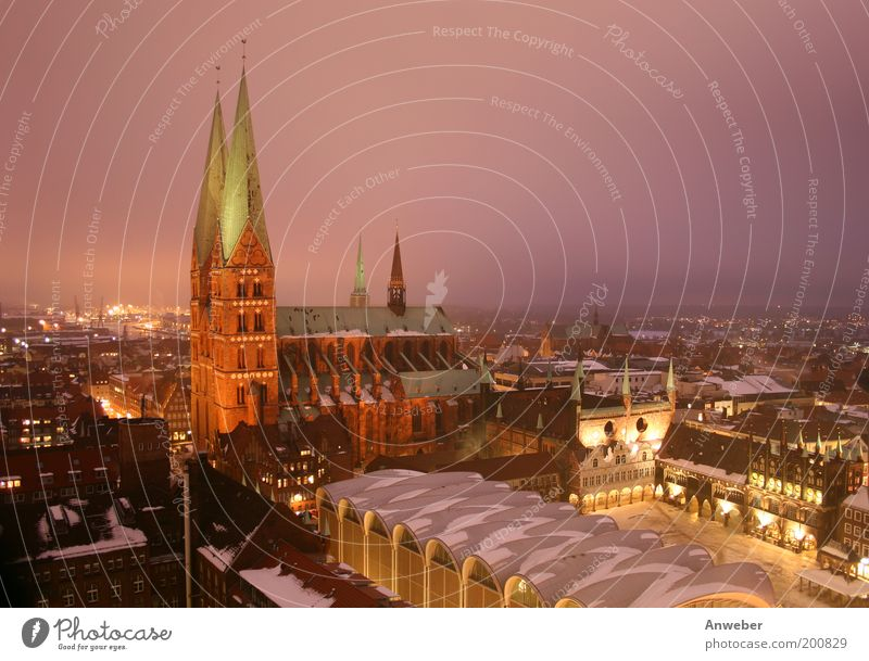 Marienkirche in Lübeck with town hall in winter Vacation & Travel Tourism Far-off places Sightseeing City trip House (Residential Structure) Nature Weather
