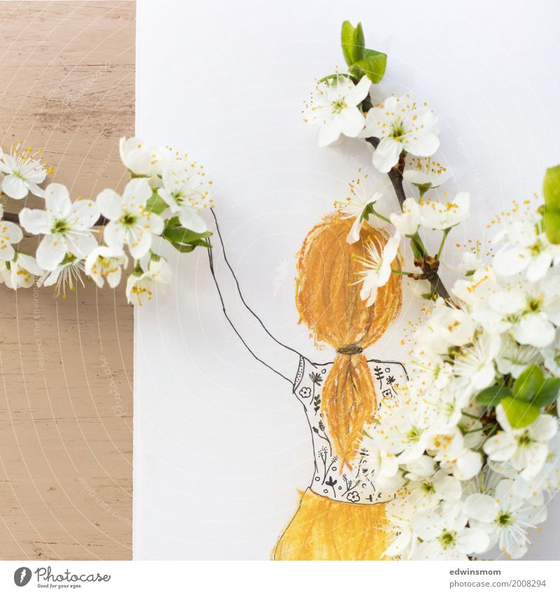 spring Leisure and hobbies Handicraft Feasts & Celebrations Easter Feminine Hair and hairstyles Nature Plant Spring Blossom Long-haired Braids Paper Decoration