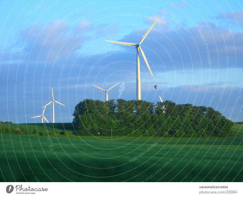 Green Meadow Movement Landscape Field Wind energy plant Rotate Renewable energy