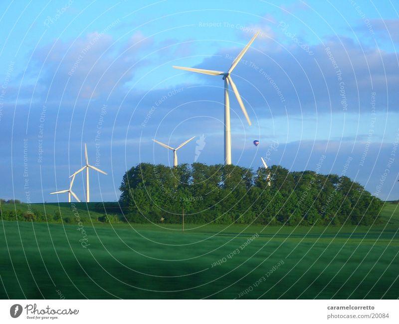 Wind Turbine 03 Meadow Green Rotate Wind energy plant Field Landscape Movement
