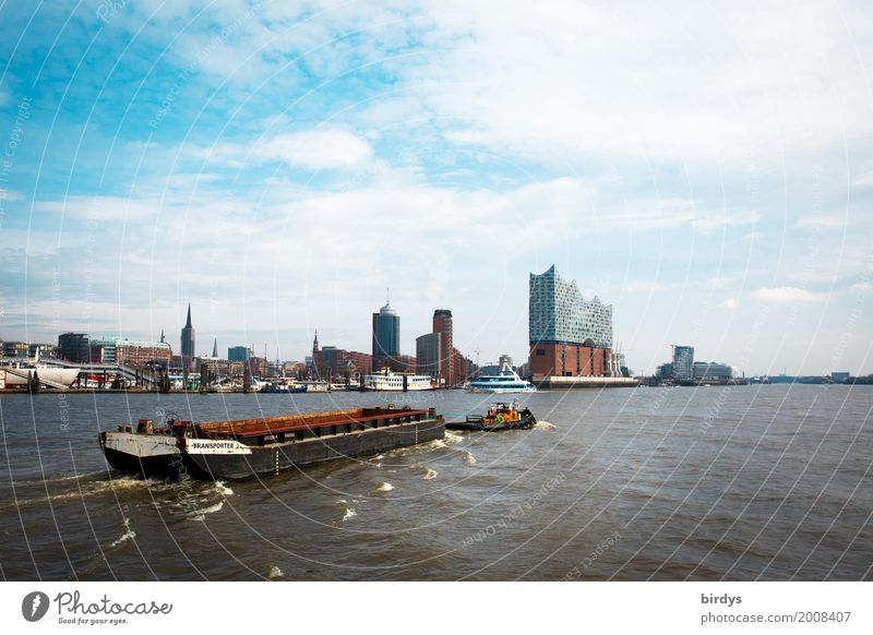Port of Hamburg and the Elphi Tourism Sightseeing City trip Culture Sky River Elbe Harbour Architecture Tourist Attraction Landmark Elbe Philharmonic Hall