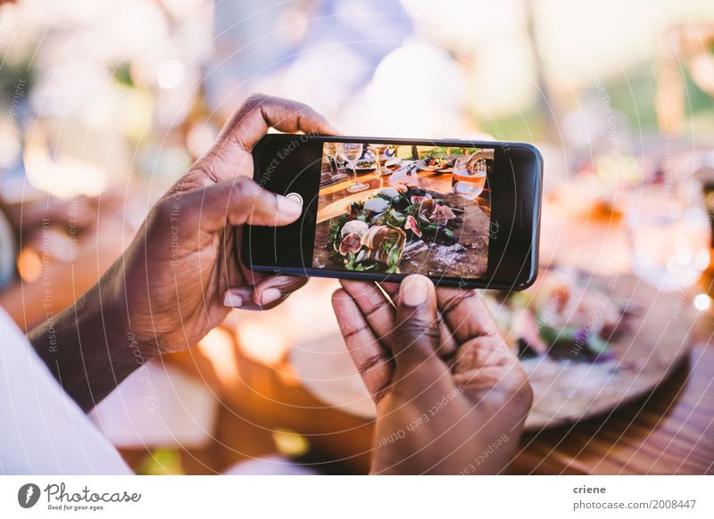 Close-up of man taking photo of food with smart phone Youth (Young adults) Man Young man Hand Black Adults Lifestyle Fresh Technology Telephone Internet Cellphone Camera Plate Screen Lunch
