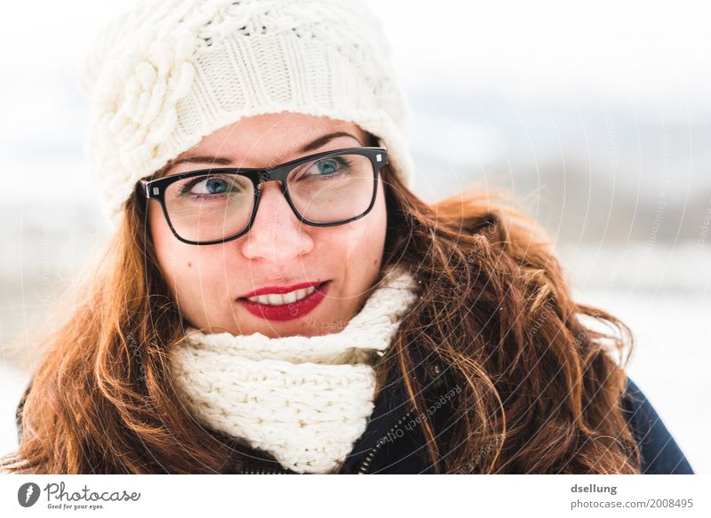 Portrait of a young woman in a winter landscape Lifestyle Elegant Style Winter Snow Feminine Young woman Youth (Young adults) Adults 1 Human being 18 - 30 years