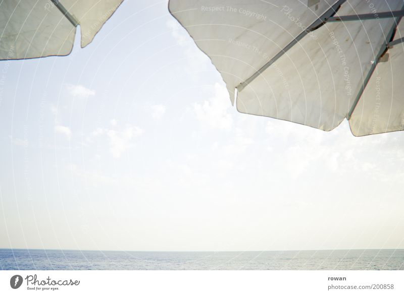 sea view Coast Ocean Relaxation Sun Sunshade White Vantage point Horizon Warmth Summer Vacation & Travel Travel photography Smoothness Blue Blue sky